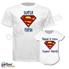 Camiseta Super Papai, Super Herói - 100% algodão