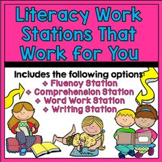 These *easy maintenance* work stations will keep your students focused on improving their literacy skills with easy to follow activities that reach the heart of literacy learning including word work, fluency, comprehension, and writing. ***************************************************************************Each station includes 4-5 activity options with materials you will set up once a month and make copies if something runs low.