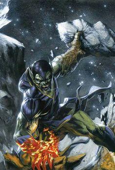 Marvel Comics: Super Skrull- by Gabriele Dell'Otto. Fantastic Four Nemesis. Comic Book Villains, Marvel Villains, Comic Book Characters, Marvel Characters, Comic Books Art, Comic Art, Book Art, Marvel Comics Art, Marvel Vs
