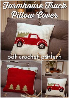 Farmhouse Truck Pillow Crochet Pattern : Farmhouse style truck with Christmas tree pillow cover crochet pattern. How much fun would this throw pillow pattern be for Christmas decor? Love this classic vintage look! Crochet Christmas Trees, Christmas Crochet Patterns, Christmas Decor, Christmas Crochet Blanket, Crochet Pillow Pattern, Crochet Cushions, Crochet Decoration, Crochet Home Decor, Christmas Pillow Covers