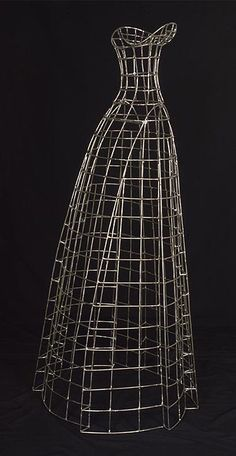 'Dress 5' (2001) by American artist Justen Ladda. Stainless steel wire frame, 51 x 24 x 20 in. via the artist's site