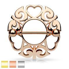 PAIR tribal nipple shield HEART body jewelry piercing steel gold rose gold 14G | Jewelry & Watches, Fashion Jewelry, Body Jewelry | eBay!