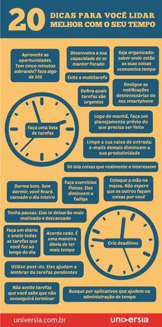 Infográfico: 20 dicas para você lidar melhor com o seu tempo