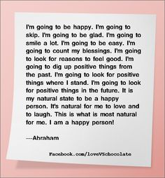 I am going to be happy – Affirmation | http://facebook.com/loveVSchocolate
