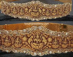 22 Carat gold antique Lakshmi nakshi vaddanam studded with polki diamonds and diamonds by Navrathan Jewellers. Antique Jewellery Designs, Indian Jewellery Design, South Indian Jewellery, Indian Wedding Jewelry, Indian Jewelry, Jewelry Design, Handmade Jewellery, Vanki Designs Jewellery, Bridal Jewelry