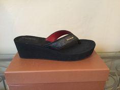 NIB Coach Jolene Signature Print Wedge Thong Sandals - US 9.5M #Coach #Slides #Casual