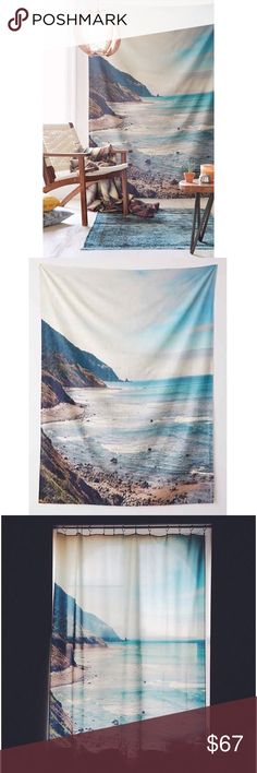 Big Sur PCH Tapestry Brand new & never used. NOTE❕that the item does ❕not❕come with tags and that it did not have any when I received it in the mail from UO. It does come in a plastic zip up bag. The hues wound up being very seafoam green/aqua and for a room I was decorating with vivid turquoise blues, it just couldn't work. It is still very beautiful and especially dreamy with sunlight coming through it. Would make for a wonderful curtain. Retailed for $69 and purchased for $74 with taxes…