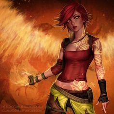 Tattooed girl fire mage