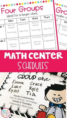 Simple math center and guided math schedules!