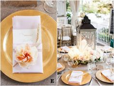 Jessica and Eric's Personalized Destination Wedding in blush pink, gold and ivory. Love those adorable Bulldog place cards!   Photo by Jen and Chris Creed    Vote for your favorite tablescape in our Best of 2014 contest at CJ's Off the Square, a garden wedding venue just south of Nashville, TN  Sponsored by Batch Nashville.  #cjsbestof2014  #batchweddings