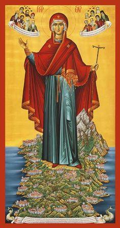 Icon of Panagia of the Holy Mountain, Mount Athos Byzantine Icons Religious Images, Religious Icons, Religious Art, Orthodox Catholic, Orthodox Christianity, Russian Orthodox, Roman Catholic, Byzantine Icons, Byzantine Art