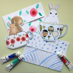 These animals peeking out of teacups are adorable. Omiyage Blogs: Send Pretty Mail #31/32/33 - Teacups & Watercolours