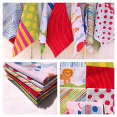 Playful Cloth Napkins-Upcycled  Linens-Fun for Kids via Etsy
