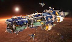 "Class 8 Frigate ""Agamemnon"" by nujumetru on brickly Lego Spaceship, Spaceship Design, Spaceship Concept, Concept Ships, Star Citizen, Lego Creator Sets, Cool Lego, Awesome Lego, Micro Lego"