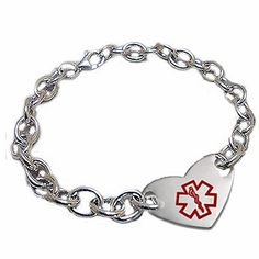Sterling Stainless Heart Soul Medical Bracelet