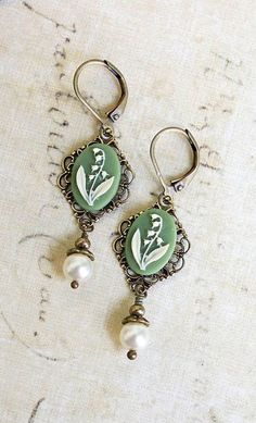 Lily of the Valley Earrings Pearl Dangle by apocketofposies- the name is the title of my fave hymn. I rly like these! :}