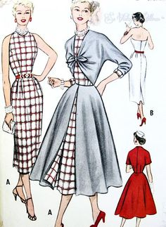 1950s Bombshell Slim Halter Sheath and Overdress Pattern Stunning Design Figure Show Off Style Perfect Day Time or Evening McCalls 9461 Vintage Sewing Pattern UNCUT Bust 30