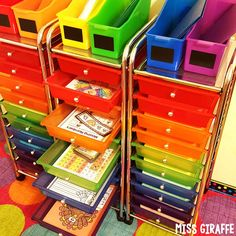 These rainbow drawers are perfect for storing math centers, literacy centers, anything! They're beautiful and perfect for classroom organization - check out how she uses them!