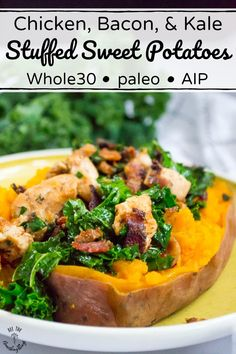 These paleo AIP and Chicken Bacon and Kale Stuffed Sweet Potatoes are a snap to make and are perfect for meal prep! This is an easy veggie-loaded meal fantastic for weeknights or chaotic weekends and is SO nourishing! Paleo Sweet Potato, Sweet Potato Recipes, Paleo Recipes, Real Food Recipes, Dinner Recipes, Paleo Whole 30, Whole 30 Recipes, Bacon Kale, Whole30