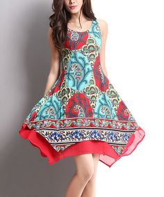 This Aqua & Red Floral Layered Sleeveless Handkerchief Dress is perfect! #zulilyfinds