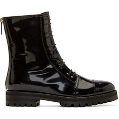Jimmy Choo Black Patent Haze Flat Combat Boots (59,115 INR) ❤ liked on Polyvore featuring shoes, boots, black mid calf boots, military boots, black patent leather boots, black army boots and mid-calf boots