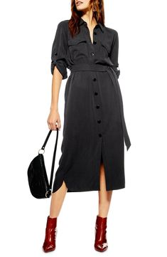 098d326dfee Free shipping and returns on Topshop Utility Midi Shirtdress at  Nordstrom.com. Lightweight and