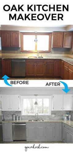 Cheap Kitchen Makeover, Kitchen On A Budget, Kitchen Redo, Kitchen Makeovers, Kitchen White, Kitchen Paint, Basic Kitchen, Oak Cabinet Makeover Kitchen, Oak Cabinet Makeovers