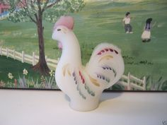 Fenton Burmese Handpainted Miniature Rooster Signed