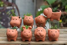 Kangkang@ Set of 2 Cute Animal Clay Planters Mini Flower Pots, Cat & Bear Lovely Creative Mini Floral Organ Meaty Plant Desktop Flower Pot in Special Ceramic Flower Pot | Indoor A Garden Pottery Animals, Ceramic Animals, Clay Vase, Clay Pots, Ceramic Flower Pots, Terracota, Clay Art Projects, Clay Crafts, Pottery Pots