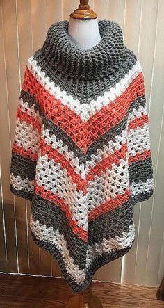 Crochet Poncho Cowl Neck Poncho Gray Poncho Boho Poncho Crochet Clothing Turtleneck Poncho Cowl Poncho Womens Poncho Knit Poncho by CozyNCuteCrochet on Etsy Poncho Au Crochet, Crochet Poncho Patterns, Knit Cowl, Crochet Scarves, Crochet Clothes, Crochet Baby, Knit Crochet, Crochet Sweaters, Knitting Patterns
