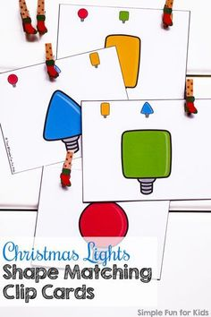 Practice basic shape (and color!) recognition with these fun Christmas Lights Shape Matching Clip Cards! (Day 11 of 24 Days of Christmas Printables for Toddlers. Fun Activities For Preschoolers, Preschool Christmas Activities, Preschool Themes, Family Activities, Best Christmas Lights, Christmas Fun, Xmas, Teaching Shapes, Shape Matching