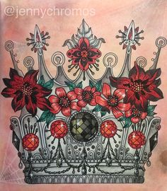 The gothic crown from #Dagdrömmar and some pale spider webs. #målarbok #målarbokförvuxna #hannakarlzon #dagdrömmarhannakarlzon #adultcoloring #adultcoloringbook #arttherapy #polychromos #fabercastellpolychromos #coloring #coloringgems #gothicjewelry
