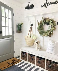 Crushing on mudroom right now! That Dutch door is dreamy! Fresh Farmhouse, Urban Farmhouse, Farmhouse Wall Decor, Farmhouse Interior, Farmhouse Homes, Farmhouse Design, Farmhouse Style, American Farmhouse, Farmhouse Lighting