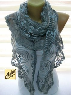 Lace Grey Scarf-gift Ideas For Her Women's Scarves-christmas gift- for her -Fashion accessories-shawls Grey Scarf, Lace Scarf, Glamour, Up Girl, Womens Scarves, Ladies Scarves, Scarf Styles, Couture, Fashion Accessories
