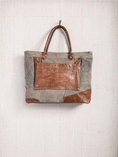 "Dakota - Reclaimed Canvas Shoulder Bag 20"" W x 13.5"" H x 4"" D with 7"" Handle Drop"