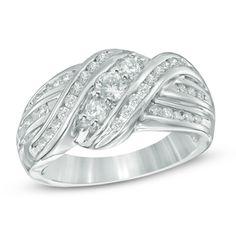 3/4+CT.+T.W.+Diamond+Three+Stone+Slant+Ring+in+10K+White+Gold