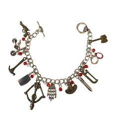 The Walking Dead 11 Metal Charm Bracelet With Red Plastic Gems