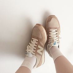 Designer Clothes, Shoes & Bags for Women Aesthetic Shoes, Beige Aesthetic, Aesthetic Clothes, Classic Sneakers, High Top Sneakers, Brown Socks, New Balance Shoes, Brown Shoe, Jaba