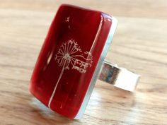Dandelion ring  Statement ring  Red ring  Rectangular by BGLASSbcn
