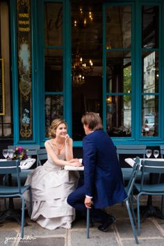 Relaxed Wedding Portraits at a French Cafe - Paris Love Story by Gina Brocker Photography