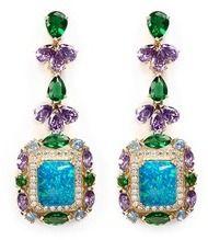 ANABELA CHAN 'Opals Deco' diamond pavé gemstone drop earrings