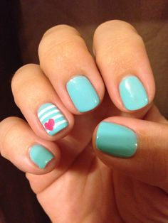 Aqua striped nails with pink heart for Origami Owl convention 2014 - melissahead.origamiowl.com
