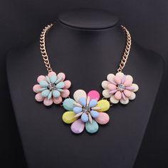 Flower Statement Necklace Gemstone Necklace by Attractivenecklace, $10.80