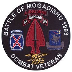 Battle of Mogadishu 1993 - Somalia - 10th Infantry Mountain Division, 3-75 Rangers, US Navy SEALs, 160th SOAR, US Army Special Forces (Delta Force) - Black Hawk Down Embroidered Patch