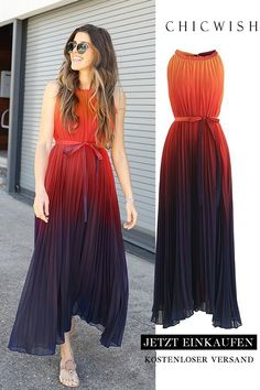 Splendor of the Sunset Gradient Pleated Maxi Dress Tie Dye Outfits, Dress Outfits, Fashion Dresses, Maxi Dresses, Ombre Maxi Dress, Cute Maxi Dress, Mode Outfits, Stylish Outfits, Formal Outfits