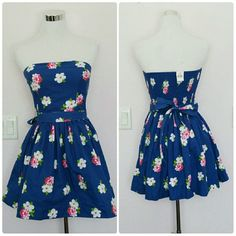 """NWT Abercrombie blue floral strapless dress Pretty blue strapless dress with an all-over flower print. Strapless. There is ruching in the back to give it stretch. Fully lined. There are no rips or stains. Comes with a belt to tie at the waist.   Measurements: Pit-pit = 15"""" Waist = 25"""" Length = 24.5"""" Abercrombie & Fitch Dresses Strapless"""