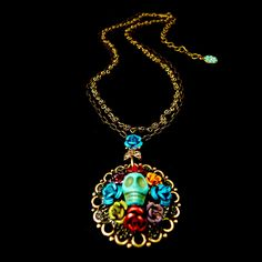 Ollipop Retro Mexican Skull Flower Necklace (N108) | Ollipop Necklaces | Jewellery | Alexandra May
