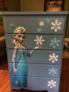 Frozen dresser, decoupage poster, Elsa