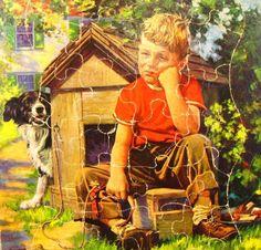 Lost Dog Frame Tray Puzzle Vintage J F Kernan Sad Boy 1930's Litho Spaniel   eBay