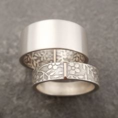 Wedding Band Set Wedding Ring Set Aloha by DownToTheWireDesigns